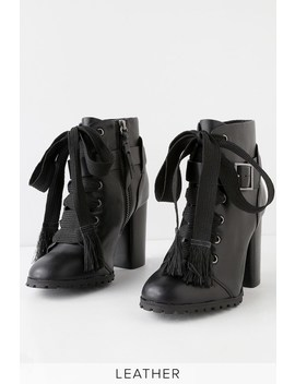 Cesar Black Leather Lace Up Ankle Booties by Splendid