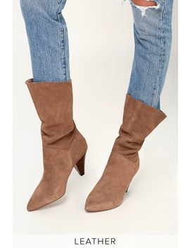 Rein Tan Suede Leather Slouchy Mid Calf Boot by Steve Madden