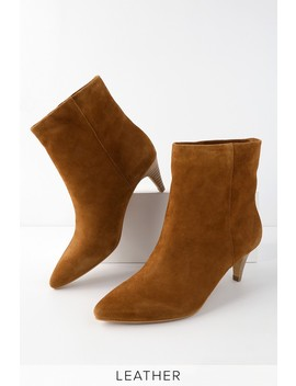 Dee Dee Dark Saddle Suede Leather Kitten Heel Ankle Booties by Dolce Vita