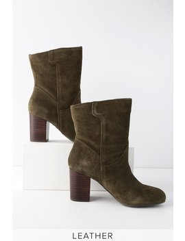 Cobain Olive Suede Leather Mid Calf Booties by Mia