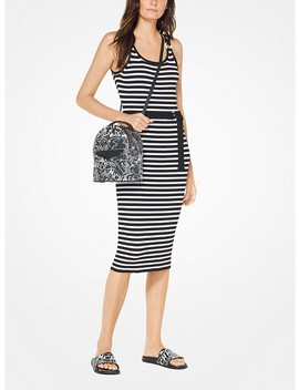 Striped Stretch Belted Dress by Michael Michael Kors