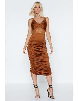 Lace To The Finish Satin Dress by Nasty Gal