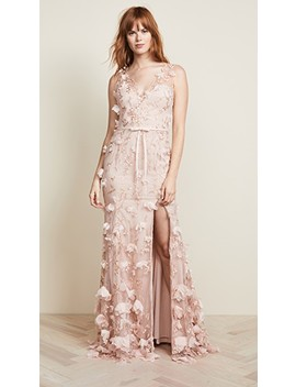 V Neck 3 D Floral Dress by Marchesa Notte