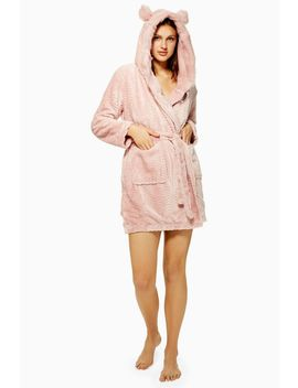 dusty-pink-faux-fur-robe by topshop