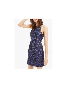 Oasis Lace Warner Lack Back Jacquard Shift Dress, Blue/Multi by Oasis