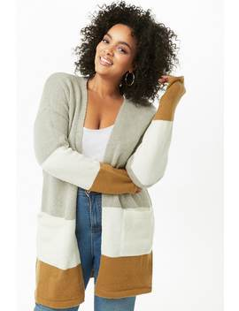 Plus Size Longline Colorblock Cardigan by Forever 21