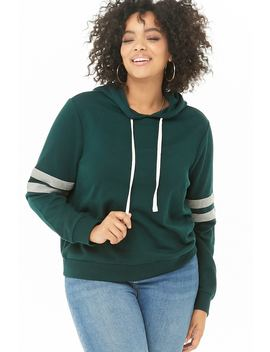 Plus Size Varsity Striped Hoodie by Forever 21