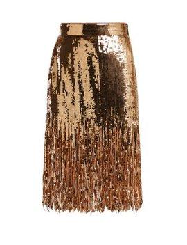 Fringed Sequinned Skirt by Msgm