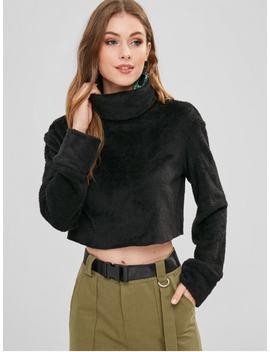 Zaful Turtleneck Crop Faux Fur Sweatshirt   Black Xl by Zaful