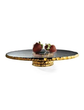 Edgey Gold Pedestal Cake Stand by Neiman Marcus