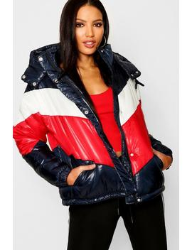 Panelled Cire Puffer Jacket by Boohoo