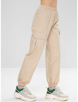 Sports Cargo Jogger Pants   Light Khaki L by Zaful
