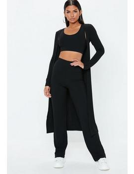 Black Rib Mix And Match Cardigan by Missguided