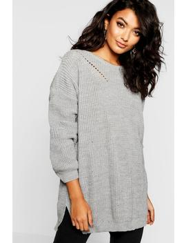 Crew Neck Oversized Jumper With Detail by Boohoo