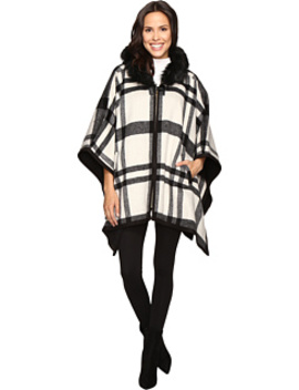 Hooded Cape With Faux Fur Trim by Via Spiga