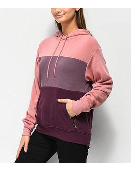 Zine Shanae Pink & Burgundy Colorblock Hoodie by Zine