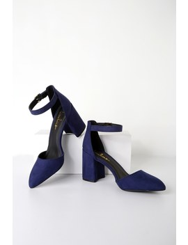 Ellarose Navy Blue Suede Ankle Strap Heels by Lulus