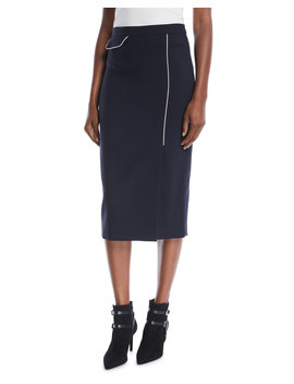 Side Slit Wool Blend Midi Pencil Skirt W/ Contrast Piping by Escada
