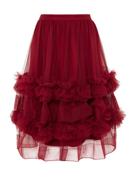 Akuac Ruffled Tulle Midi Skirt by Molly Goddard