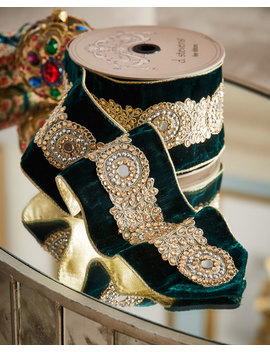 Jeweled Emerald Velvet Holiday Ribbon by Neiman Marcus