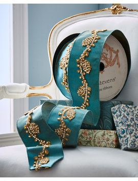 Metallic Doupioni Ribbon With Jeweled Pine Cone Trim by Neiman Marcus