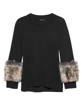 Japan Online Exclusive Faux Fur Cuff Crew Neck Sweater by Banana Repbulic