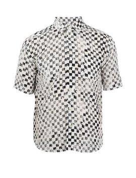 Checked Short Sleeved Silk Shirt by Saint Laurent