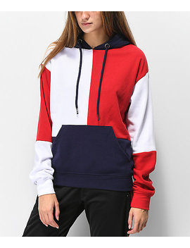 zine-arlo-red,-white-&-blue-colorblock-hoodie by zine