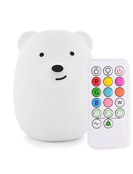 Lumi Pets Cute Animal Silicone Baby Night Light With Touch Sensor And Remote   Portable And Rechargeable Infant Or Toddler Cool Color Changing Bright... by Lumipets