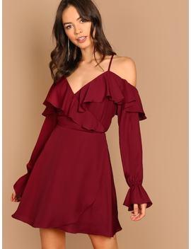 Open Shoulder Flounce Trim Wrap Dress by Shein