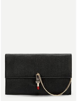 Lipstick Shaped Lock Clutch With Chain by Sheinside