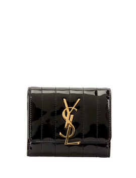 Vicky Quilt Patent French Flap Organizer Wallet by Saint Laurent