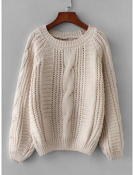 Cable Knit Solid Jumper by Sheinside