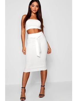 Bandeau Tie Detail Midi Skirt Co Ord by Boohoo