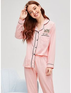 Cat Print Contrast Binding Pajama Set by Sheinside