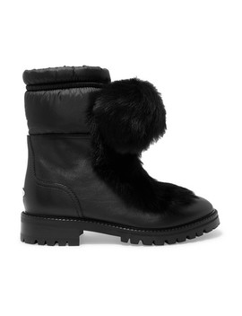 Glacie Pompom Embellished Shearling And Shell Trimmed Leather Ankle Boots by Jimmy Choo