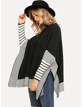 Contrast Striped Poncho Jumper by Sheinside