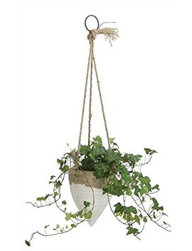 Creative Co Op Medium White Stoneware Hanging Planter With Jute Rope by Creative Co Op