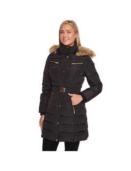 Women's Halitech Faux Fur Hooded Belted Puffer Jacket by Kohl's