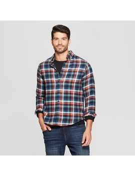 Men's Plaid Standard Fit Long Sleeve Pocket Flannel Button Down Shirt   Goodfellow & Co™ by Goodfellow & Co