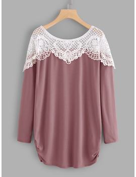 Contrast Hollow Out Crochet Tee by Sheinside