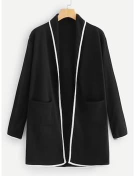 Contrast Trim Coat by Sheinside