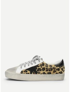Leopard Print Lace Up Sneakers by Sheinside