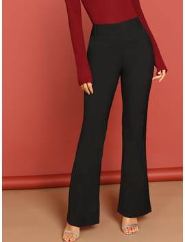 Mid Rise Side Pocket Flared Leg Trousers by Sheinside