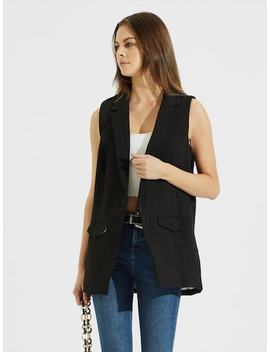 Notched Collar Open Front Shell Blazer by Sheinside