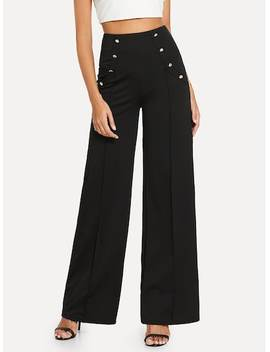 Double Button Solid Pants by Sheinside