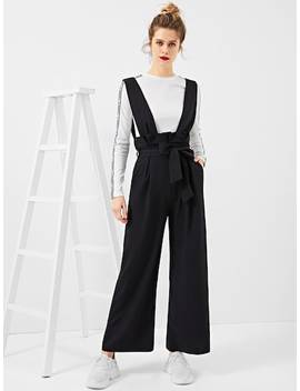 Belted Pleated Waist Palazzo Pants With Thick Strap by Shein