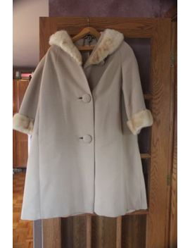 Fur Women Coat Cream Tan Full Length Trench Large? Union Made Usa by A Golet