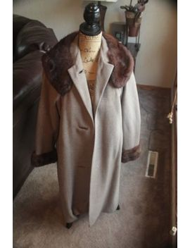 Vintage Fur Women Winter Coat Jacket Recovery Board Brown Tan Medium Large by National Recovery Board