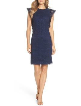Lace Ruffle Sleeve Sheath Dress by Vince Camuto